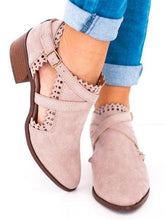 Load image into Gallery viewer, Scalloped Booties Low Heel Hollow-out Buckle Strap Boots