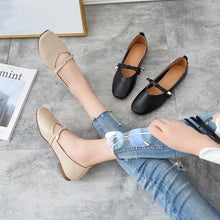 Load image into Gallery viewer, Women Bowknot PU Square Toe Suede Adjustable Buckle Spring Summer Autumn Flats