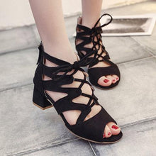 Load image into Gallery viewer, Lace-Up Faux Suede Chunky Heel Sandals