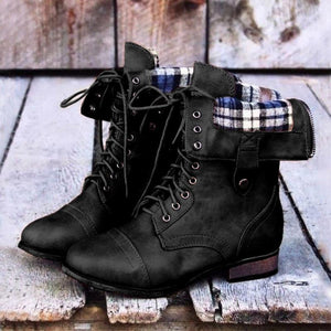 Knight Boots Lace Up Boots Low Heel Back Zipper Boots