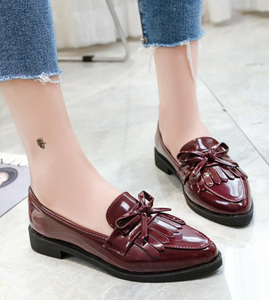 Flat Shoes Women Casual Tassel Bow Pointed Toe Oxford Shoes for Woman Flats Slip on