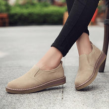 Load image into Gallery viewer, Women Faux Suede Loafers Elastic Band Pure Color Casual Flat Slip-on Shoes