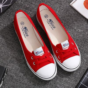 Large Size Women Spring Autumn Daily Casual Canvas Lace Up Shoes Flats Slip On