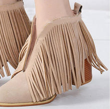 Load image into Gallery viewer, Plain Chunky High Heeled Velvet Round Toe Date Outdoor Ankle Boots