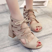 Load image into Gallery viewer, Plain Chunky Mid Heeled Velvet Criss Cross Peep Toe Date Office Sandals