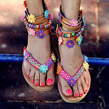 Load image into Gallery viewer, Women Summer Large Size Bohemian Zipper Flowers Handmade String Beads Flat Sandals