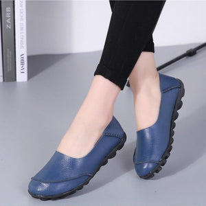 Women Large Size Split Artificial Leather Panel Flats Slip On Shoes