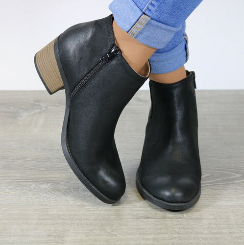 Large Size Women Qupid Side Cut Chunky Heel Round Toe Zipper Boots Ankle Booties