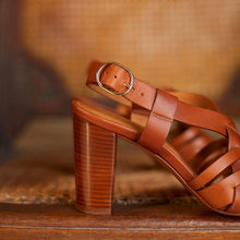 Load image into Gallery viewer, Summer High Chunky Heels Buckle Summer Interweave Sandals