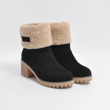 Load image into Gallery viewer, Female Winter Shoes Fur Warm Snow Boots Square Heels Ankle Boots