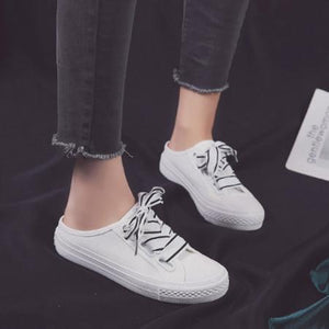 Women Flat Heel Lace Up Daily Slip On Sneakers