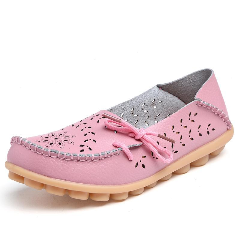 Women Summer Large Size Casual Hollow Out Artificial Leather Flat Slip On Shoes