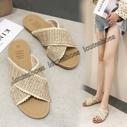 Sandals women summer new flat hollow woven slippers women