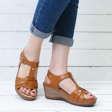 Load image into Gallery viewer, Rome Metal Buckle Breathable Wedge Heel Gladiator Sandals