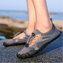 Load image into Gallery viewer, Color Block Flat Elastic Round Toe Outdoor Run Sneakers