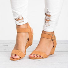 Load image into Gallery viewer, Women Plus Size Wedges Adjustable Buckle Wedge Sandals