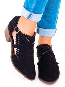 Scalloped Booties Low Heel Hollow-out Buckle Strap Boots