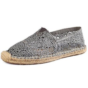Women Loafers Hollow-out Lace Elegant Elastic Band Solid Embroidered Flats Shoes