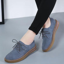Load image into Gallery viewer, Women Lace Up Faux Suede Pure Color Casual Flat Non-slip Shoes