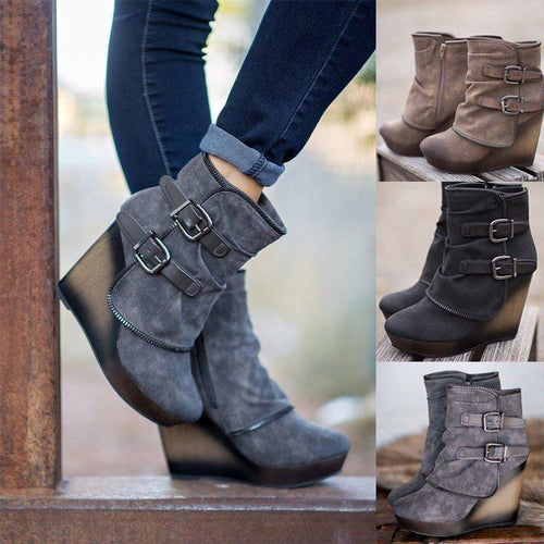 Women Vintage Booties Ankle High Thick Heels Shoes