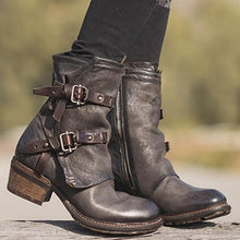 Load image into Gallery viewer, Women Vintage Buckle Boots Side Zipper Round Toe Boots