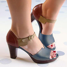 Load image into Gallery viewer, WOMEN MULTICOLOR PU DAILY CHUNKY HEEL BUCKLE SANDALS