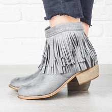 Load image into Gallery viewer, TASSEL CHUNKY HEEL ZIPPER ANKLE BOOTS