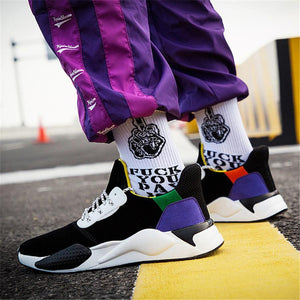 Men's ultra-fibre casual color matching sport sneakers