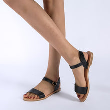Load image into Gallery viewer, Women's PU Round Toe Adjustable Buckle Beach Flat Sandals