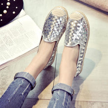 Load image into Gallery viewer, Women Leatherette Flat Loafers Casual Sequin Closed Toe Flat Heel Shoes