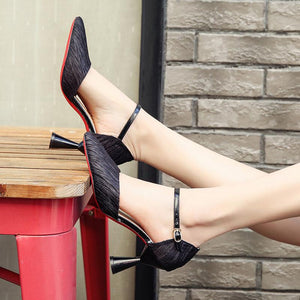 Sweet Adjustable Buckle Date Heels