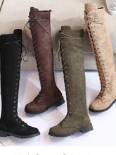Load image into Gallery viewer, Women Winter Low Heel Faux Suede Knee Boots Zipper Shoes