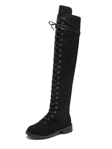 Women Winter Low Heel Faux Suede Knee Boots Zipper Shoes