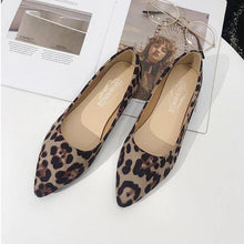 Load image into Gallery viewer, Artificial Suede Round Toe Slip on Leopard Flat Loafers Low Heel Simple Pure Color