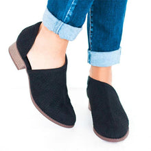Load image into Gallery viewer, Women Low Heel PU Slip-On Shoes Hollow Chunky Heel Boots