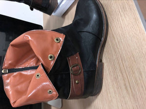 Women Round Toe Winter Low Heel Boots