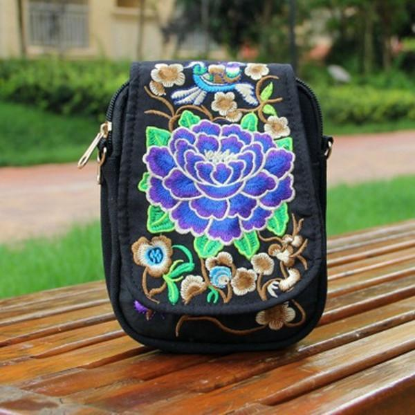 Tribal Retro Shoulder Bag Canvas Chinese Style Phone Bag