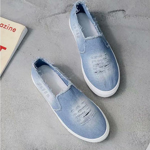 Large Size Washed Denim Loafers Flats Canvas Shoes Women Casual Slip on