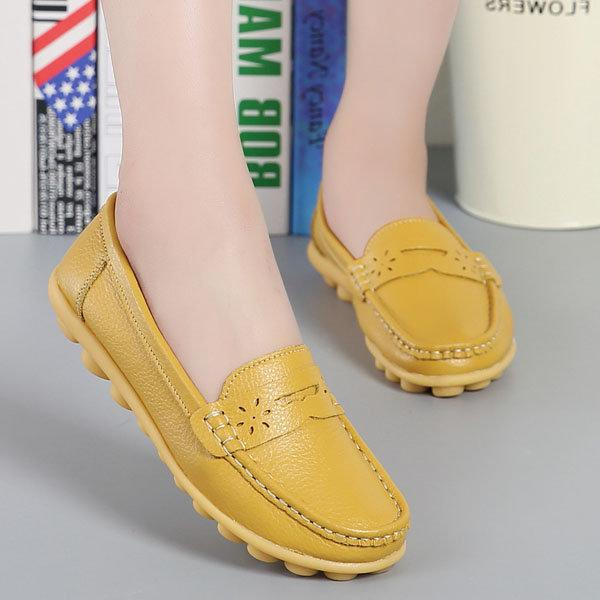 Comfy Sole Artificial Leather Breathable Slip-on Soft Flat Loafers