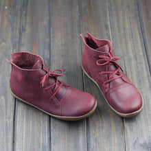 Load image into Gallery viewer, Vintage Solid Color Lace-Up Ankle Flat Boots