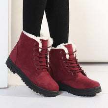Load image into Gallery viewer, Lace Up Red Women's Slip-On Suede Boots