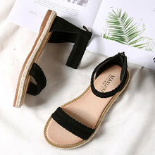 Load image into Gallery viewer, Women's Rome Style Microfiber Open Toe Zipper Flat Sandals