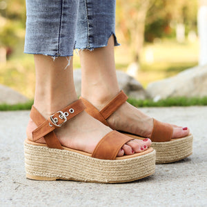 Women's PU Peep Toe Adjustable Buckle Platform High Sandals