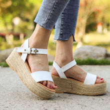 Load image into Gallery viewer, Women's PU Peep Toe Adjustable Buckle Platform High Sandals