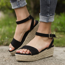 Load image into Gallery viewer, Women's PU Peep Toe Adjustable Buckle Wedge Sandals