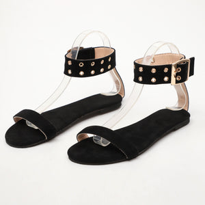 Women's Cotton Open Toe Adjustable Buckle Flat Sandals