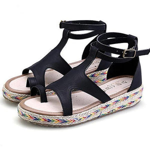 Women's PU Peep Toe Adjustable Buckle Flat Espadrille Sandals
