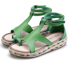 Load image into Gallery viewer, Women's PU Peep Toe Adjustable Buckle Flat Espadrille Sandals