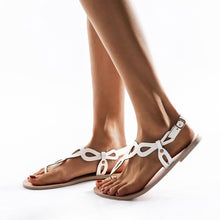 Load image into Gallery viewer, Women's PU Flip-flops Round Toe Hollow-out Adjustable Buckle Flat Sandals