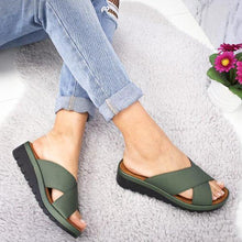 Load image into Gallery viewer, Women's Cross-band PU Round Toe Slip-On Middle Wedge Heel Slippers